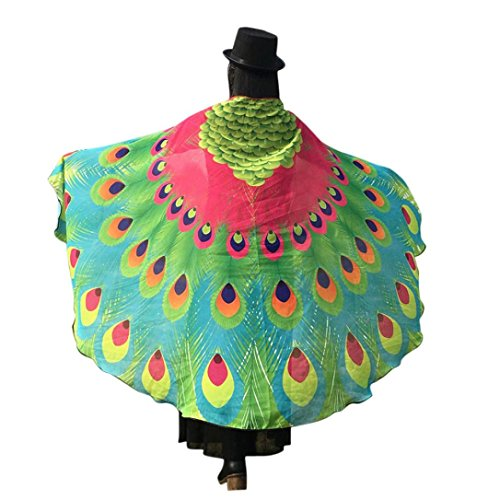 Hemlock Peacock Wings Shawl 2018 Butterfly Wings Shawl Fairy Cape Wrap Scarf Halloween Party Shawl Costume (Hot Pink)