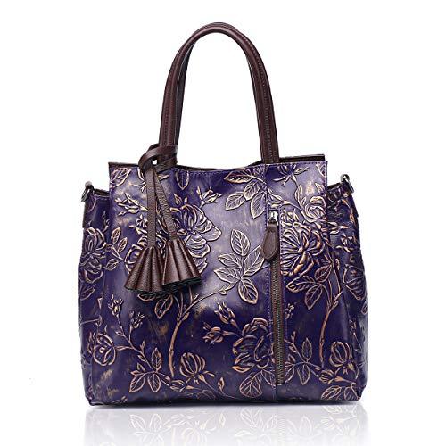 - APHISON Designer Unique Embossed Floral Cowhide Leather Tote Style Ladies Top Handle Bags Handbags (Purple)