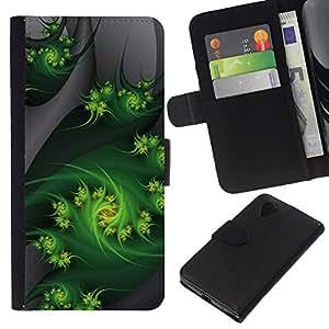 KLONGSHOP // Tirón de la caja Cartera de cuero con ranuras para tarjetas - Fractal Art Weed Naturaleza Gray - LG Nexus 5 D820 D821 //