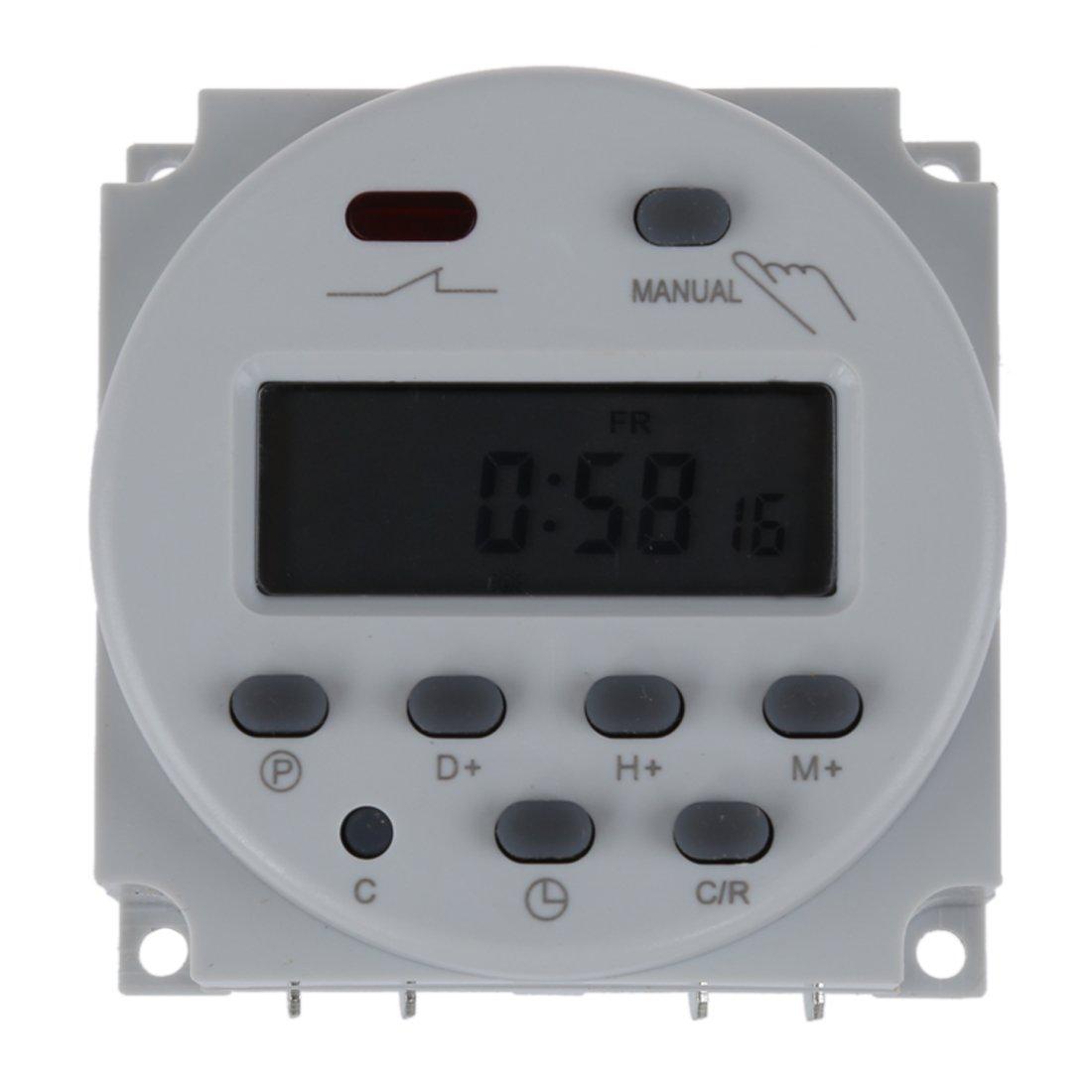 SODIAL(R)Digital LCD temporizador programable interruptor de la AC220-240 16A Blanco