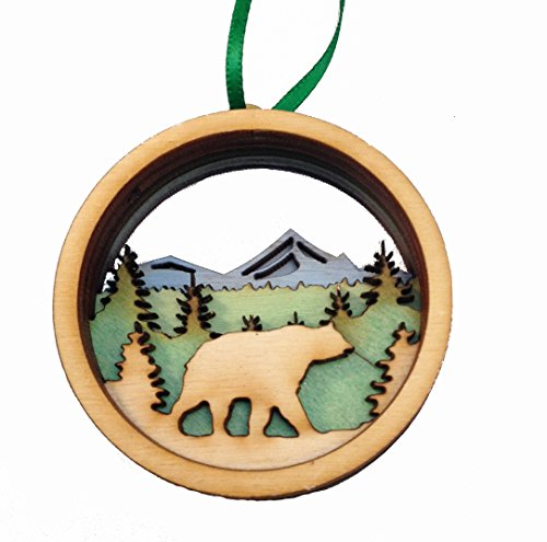 - Wooden 3D Holiday Ornament Black Bear - Made in Maine - Gift Boxed
