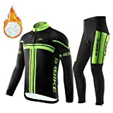 INBIKE Men's Fleece Thermal Long Cycling Jersey and Pants for Cool Weather Black and Green Medium