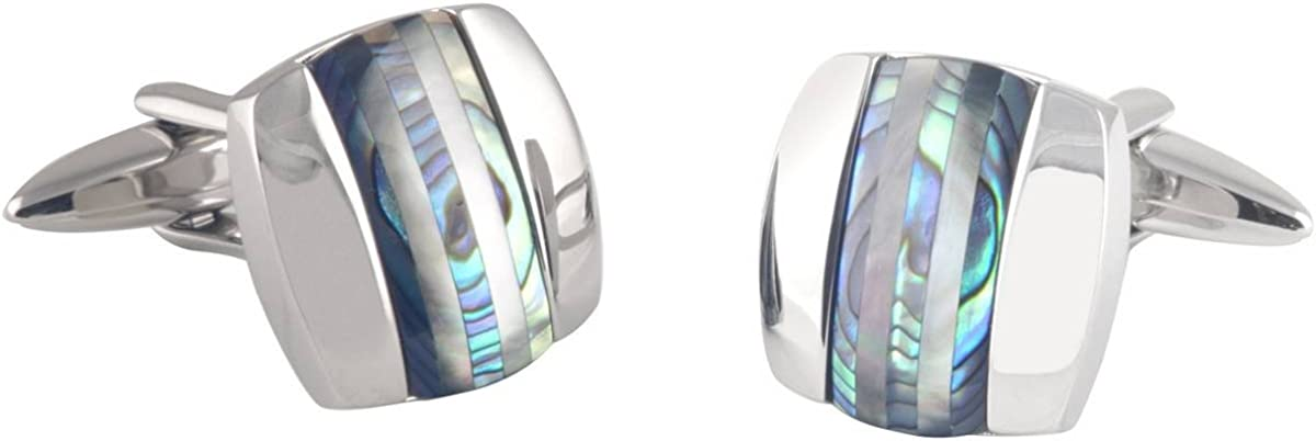 Silver//Green David Van Hagen Mens Curved Square Abalone and Cats Eye Stripe Cufflinks