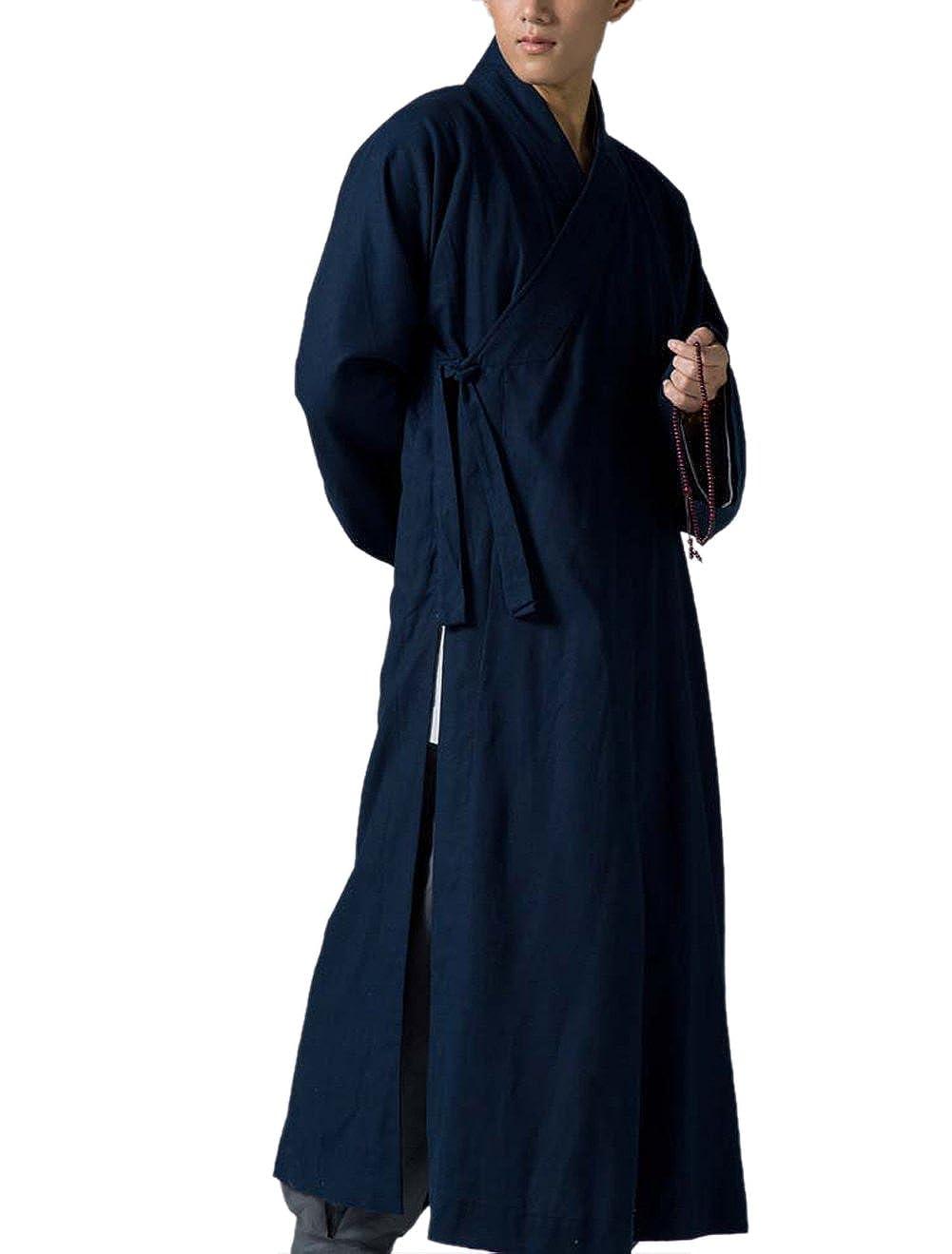 Katuo tradizionale da uomo lungo, Monaco buddista meditazione Accappatoio Blu Scuro KTS35