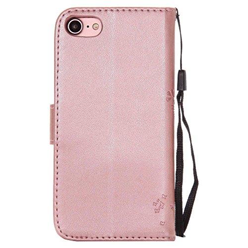 誰かサイレントお気に入りiPhone 8 ケース iPhone 7 ケース Conber PUレザー 手帳型 軽量 超薄型 耐衝撃 財布型 カバー Apple iPhone 8/7 用 スタンド機能 カード収納 全面保護 猫と木 ケース - ローズゴールド
