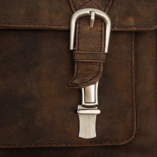 porterbello - 'Trieste' Kompakt handgefertigt Hunter Leder Beutel Aktentasche Messenger Laptop Tasche