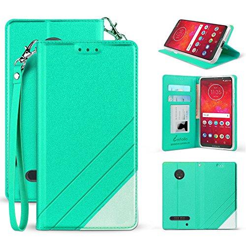 Y, Z Play 3rd Generation 2018 (XT1929) Premium PU Leather Two Tone Flip Folio Credit Card Slot Wallet Case with Detachable Wrist Strap [Magnetic Closure & Free Emoji] (Mint Green) ()