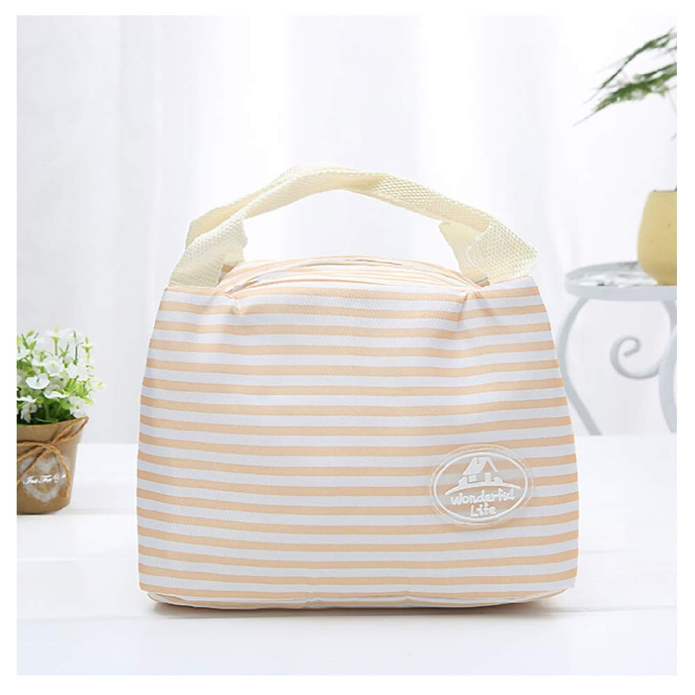 MOVEmen Insulated Cold Canvas Stripe Picnic Carry Case Thermal Portable Lunch Bag Cold Insulation Bag Thickened Lunch Bag Travel Bag Make Up Bag Cosmetic Bag Packing Box Crisper Shopping Bag (Orange)