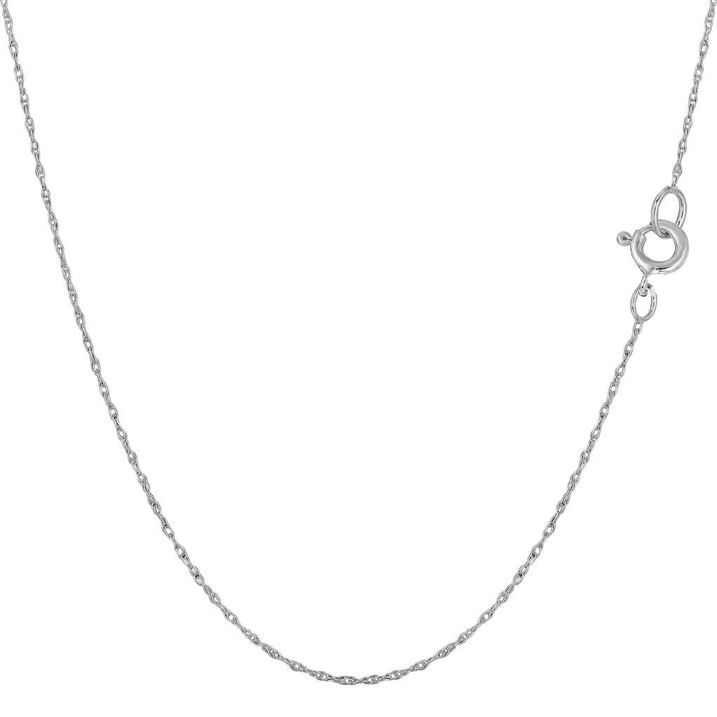 14K Yellow or White Gold .40mm Shiny Classic Rope Chain Necklace for Pendants and Charms with Spring-Ring Clasp (16'' or 18'' inch)