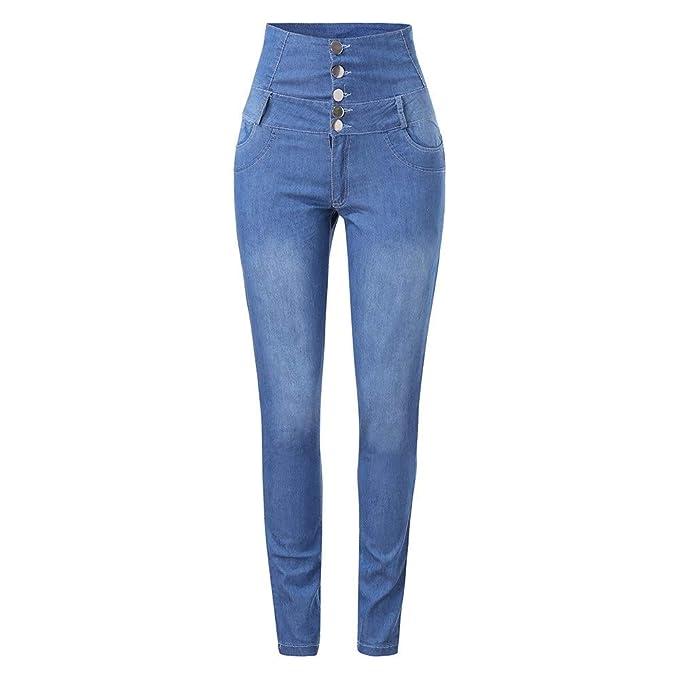 fd4bd12abb9 NPRADLA Vaqueros Jeans Tendencia Mujeres otoño elástico ButtoPlus Flojo  Agujero Denim Casual pies pequeños recortados Jeans