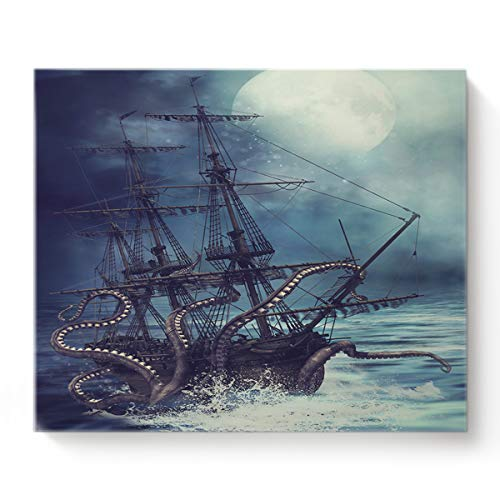 Canvas Print Wall Art Kraken Octopus Monster Pirate Ship Wall Decor Paintings Pictures for Living Room Modern Artwork Stretched and Framed Ready to Hang 16