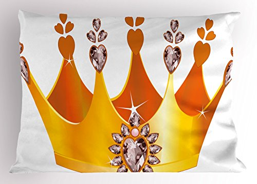 Fairy Tale Friends Tiara (Queen Pillow Sham by Ambesonne, Gold Colored Tiara Cartoon Princess Hearts Floral Details Fairytale Character, Decorative Standard King Size Printed Pillowcase, 36 X 20 Inches, Yellow Dried Rose)