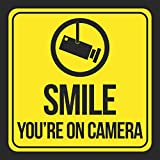 Smile You'Re On Camera Print Yellow Black Camera Picture Window School PublicBusiness Signs Plastic, 12x12