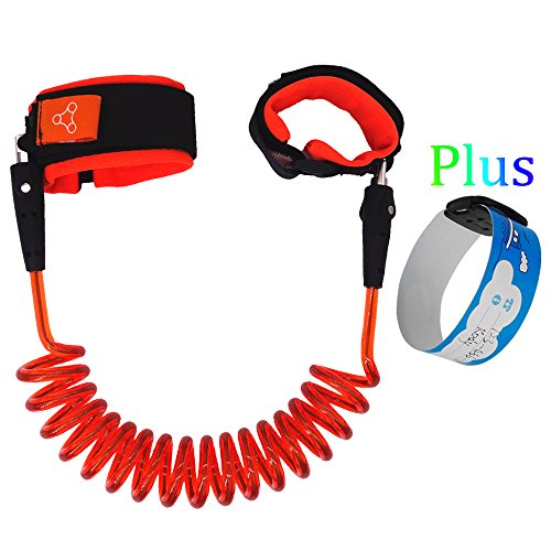 HITROVER Wrist Leash for Child/Kid/Toddler| Safety Harness/Strap/Link/Tether for walking Kids (Standard, Orange Leash+ID (Standard Tether)