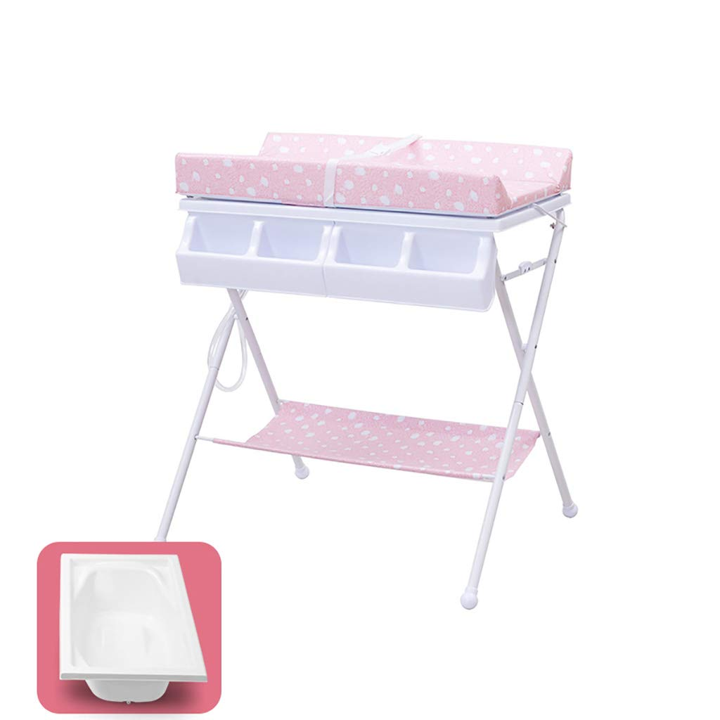 Changing Table Baby with PE Waterproof Pad and Bathtub, 2-Tier Foldable Diaper Changing Station for Boys and Girls (Color : Pink)