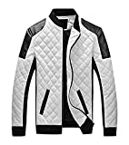 Mancave Men Black & White Quilted Bomber Collar Pocketed Zip Up Slim Jacket, White L,Manufacturer(XXL)