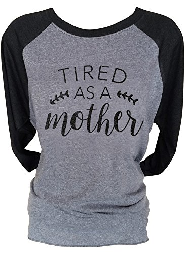 Loaded Lids Women's Mom, Tired as a Mother, Sparkle Finish 3/4 Sleeve Baseball Style T-Shirt (Large, SoftBlack/Grey/BlackGlitter) 3/4 Sleeve Cotton Hat