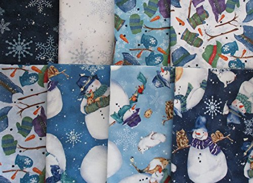 Fat Snowman - Creature Comforts by Barb Tortillotte from Clothworks 8 fat quarters Cotton Quilt Fabric Snowmen & Animals