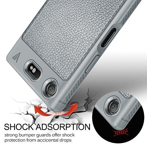 Funda Sony Xperia XZ1 Compact, KuGi anti-rasca la Carcasa del teléfono TPU del de la imitación ninguna Case del teléfono móvil caja del teléfono Cover para Sony Xperia XZ1 Compact Smartphone, (Negro) Gris