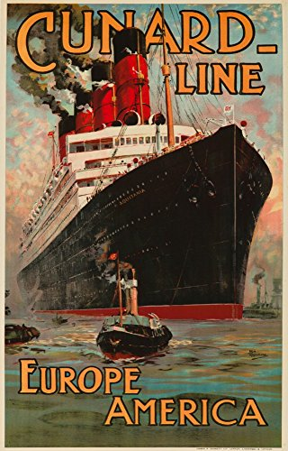 - England - Cunard Line - Europe America - Aquitania - (artist: Rosenvinge c. 1914) - Vintage Advertisement (12x18 SIGNED Print Master Art Print w/ Certificate of Authenticity - Wall Decor Travel Poster)
