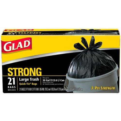 Glad 30 Gal. 3-Ply Strength, Strong Large Trash Quick-Tie Bags 21 ct (Pack of 9)