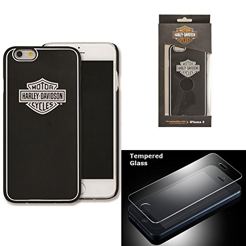 Harley Davidson iPhone 6s PLUS, iPhone 6 PLUS Hard Shell Bar and Shield Logo Cover with Tempered Glass Screen Protector.