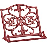 Home Basics Cast Iron Fleur De Lis Cookbook Stand, Red