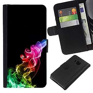 KingStore / Leather Etui en cuir / HTC One M7 / Humo del arco iris Negro Llama