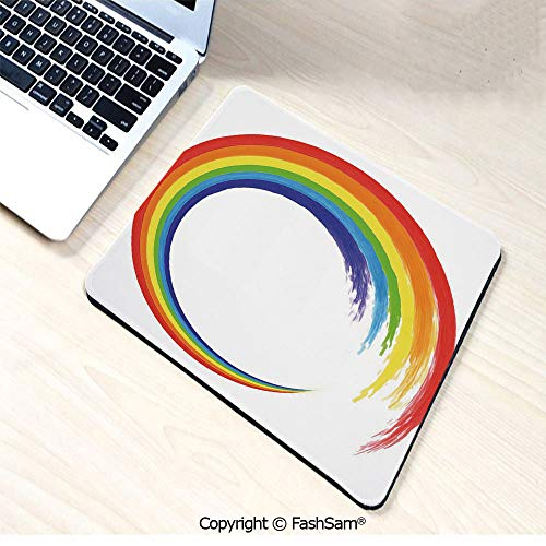 (Non-Slip Rubber Mouse Pads Watercolor Brush Stroke Rainbow Circle Acrylic Looking Pattern Hand Drawn Artwrok Decorative for Computers Laptop)