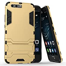 Huawei P10 Plus Case,Gift_Source [Kickstand] Hybrid Dual Layer Armor Defender Full-Body Protective Case Soft TPU and Hard PC Rugged Shockproof Dirtproof Cover For Huawei P10 Plus [Gold]