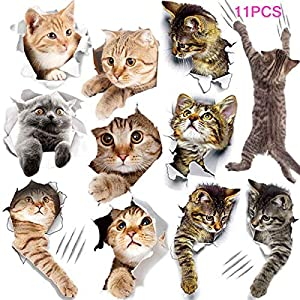 11PCS New 3D Removable Cartoon Animal Cats Large Wall Stickers, Easy to Peel Easy to Stick Safe on Painted Walls Cute Cat Decor Posters for Nursery Room Toilet Kitchen Offices