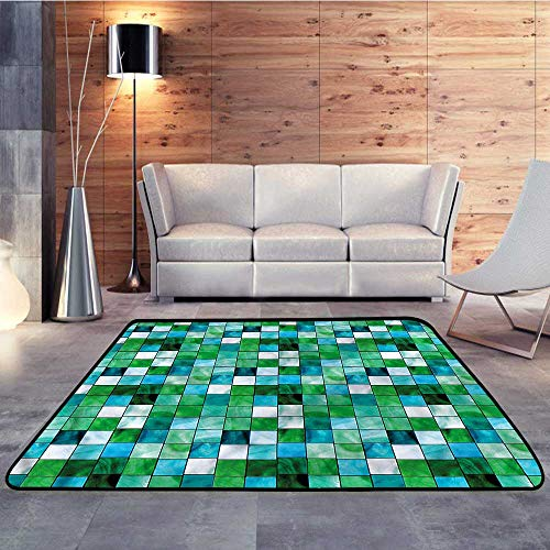 Baby Care Play Mat,Emerald,Mosaic Square Tiles AquaticW 71