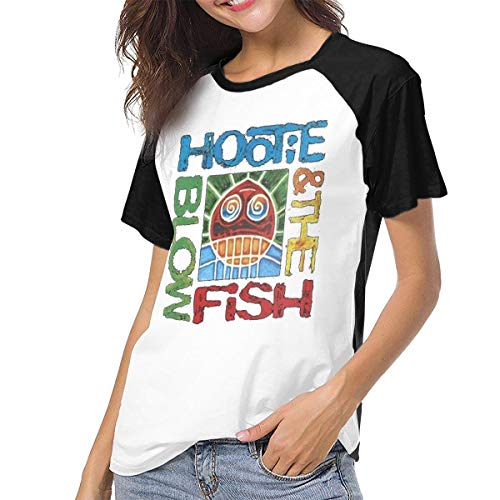 Fional Womens Raglan Baseball T-Shirt Hootie-The-Blowfish Printed Crew Neck Casual Tee Tops Black