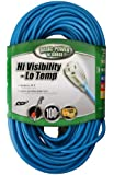 Coleman Cable 02369 16/3 SJTW Low Temp, Blue Cord with Lighted End,  100-Ft
