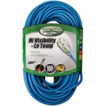 Southwire 02367 16/3-Wire Gauge High Visibility and Low Temperature Outdoor Extension Cord, 100-Foot, Blue