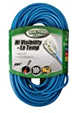 Southwire 02369 16/3-Wire Gauge High Visibility and Low Temperature Outdoor Extension Cord, 100-Foot, Blue