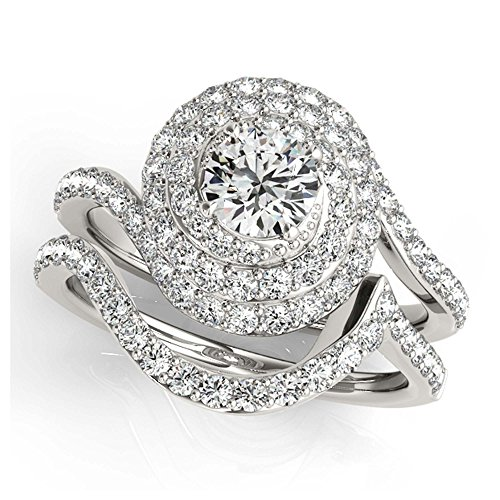 14K White Gold Unique Wedding Diamond Bridal Set Style MT50824
