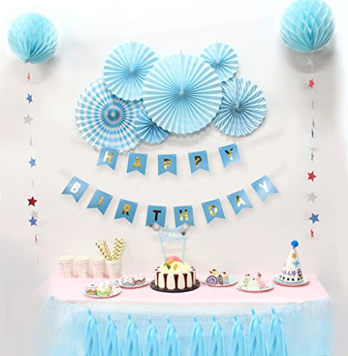 Birthday Party Decorations Kit Paper Fans Happy Birthday Bunting
