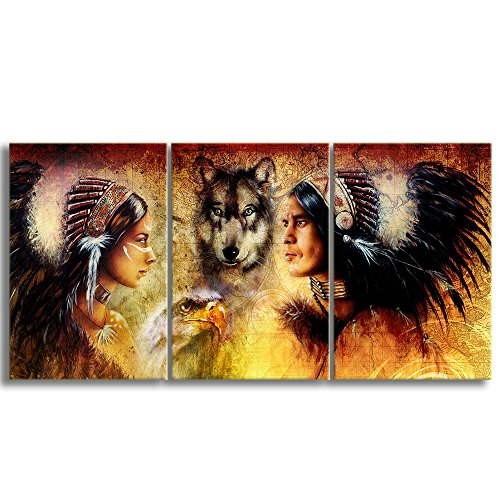 Large 3 Piece Ancient Native American Indian Man And Women In Ethnic Feather With Wolves Painting on Canvas Wall Art Retro Indian Chief Painting for Living Room Framed Ready to Hang (16''W x 24''H) ()