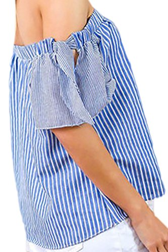 erdbeerloft - Damen Gestreifte Bluse Carmenausschnitt Weites Shirt, 36-42, Blau Weiss