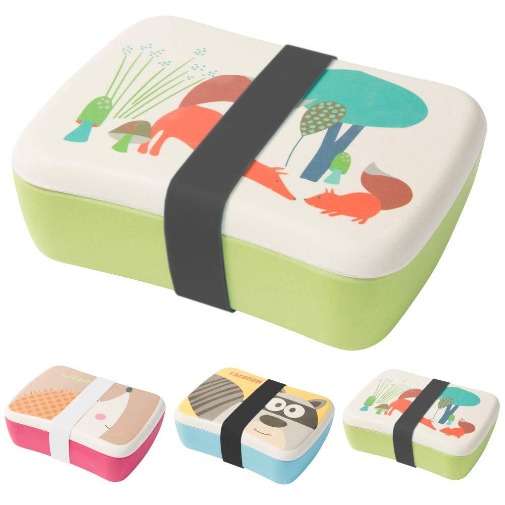 BIOZOYG ni/ños Bento lonchera de Bamb/ú con Caja Chica Extra para Aperitivos I Lonchera con Motivos para Ni/ños y Ni/ñas Erizo para el Jard/ín de ni/ños Libre de BPA y 100/% Apto para Alimentos