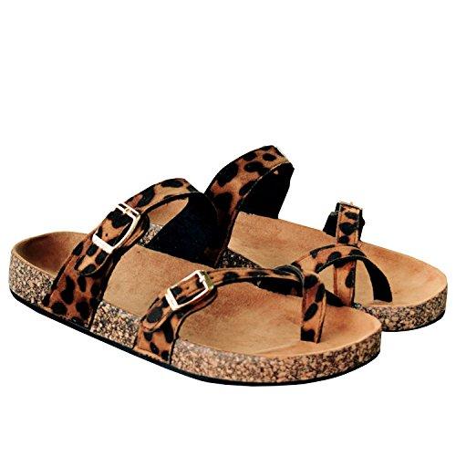 Sandali Della Piattaforma Delle Donne Di Coutgo Sandali Dei Sandali Degli Appartamenti Dei Cinturini Della Cinghia Regolabili Del Cuoio Leopardo
