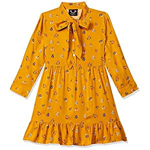 Smiling Bows Girls Flower Printed Dress