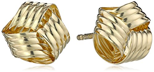 14k Love Knot (14k Yellow Gold Ribbed Love Knot Stud Earrings)