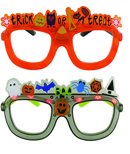 [Halloween Orange & Black Flashing Party Glasses - 2 Pack, One Size, 6