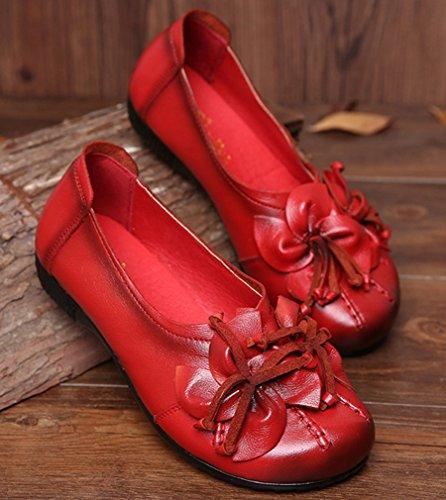 ... Soojun Mocassins En Cuir Pour Femme Chaussures Plates Slip-ons Avec  Fleur Rouge ... f71e3fce5237