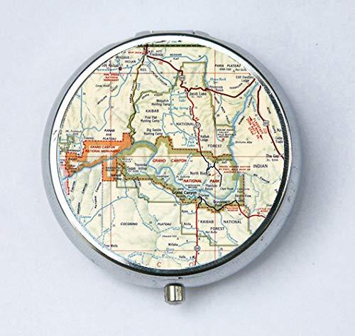 Map Of Just Arizona.Grand Canyon Arizona Az Pill Case Pill Box Pillbox Holder Vintage Map
