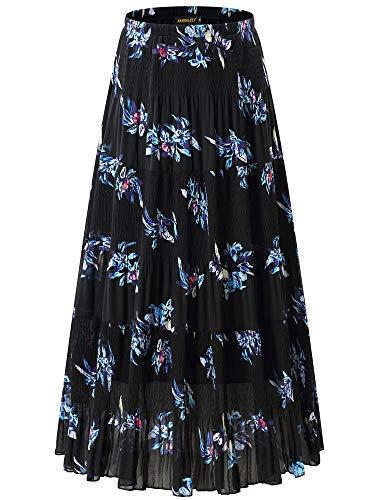 NASHALYLY Women's Chiffon Elastic High Waist Pleated A-Line Flared Maxi Skirts (L, Flower-25)