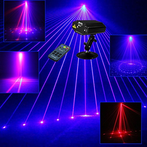 Lilyminiso Mini Laser Lighting 9 Patterns RB Remote Led Stage light Sound Active Equipment Effect Disco DJ Light Home Party Lights luces discoteca