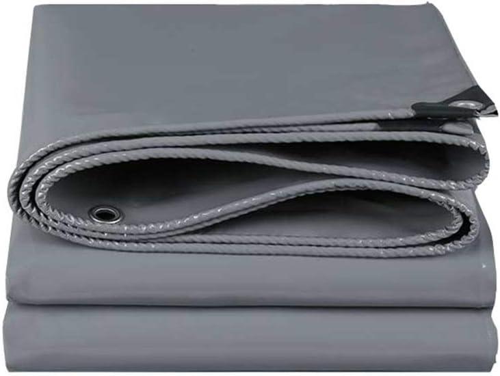 タープ グレー テントターポリン 多目的 防水 ポリタープ 耐摩耗性 日焼け止め グランドシートカバー 厚さ0.5mm、 580g /㎡  6X8M